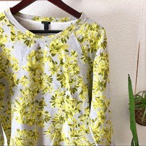 J Crew neon yellow green floral sweatshirt NWOT for sale